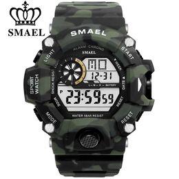 SMAEL Мужские спортивные часы S-SHOCK Военные часы Модные камуфляжные наручные часы Dive мужские спортивные светодиодные цифровые водонепроницаемые часы от