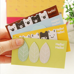 Wholesale memo flags - 1 sets Kawaii Cute Clouds Leaf Animal Forest Mini Memo Pad Stationery Sticker Notes Paper Bookmark Flags Sticky