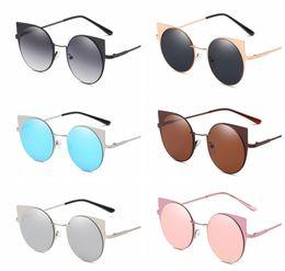 Wholesale cat eyes film - Stainless steel cat eye sunglasses Fashion outdoor sports metal round colored film retro ladies sunglasses Outdoor Eyewear LJJG35 10pcs