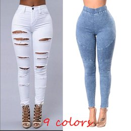 Wholesale High Waist Blue - 2018 Women Skinny Jeans Push Up High Waist Pants Ladies Casual Slim Fit Long Pants Female Trousers Free Shipping