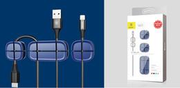 Líneas de plomo online-HOT Baseus Clip de cable Escritorio Tidy Wire Drop Lead Cargador USB Sostenedor del cable Organizador Titular Línea Accesorios clips de cable de escritorio