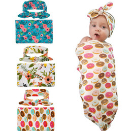 Wholesale Quilt Flowers - 9 styles Newborn 100% cotton blanket with headband infant flower fruit blanket swaddle toddler blanket baby summer Air conditioning quilt