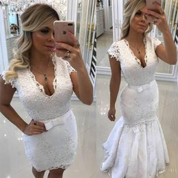 Wholesale Mini Wedding Dresses Detachable - 2018 Wedding Dresses with Detachable Skirt Sheath Short Mini V Neck Wedding Dress Mermaid Illusion Back Pearls Lace Appliques Bridal Gowns
