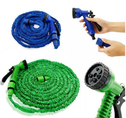 Wholesale Plastic Flexible Pipe - Expandable Hose 50FT Garden Water Hose Expandable Flexible Hose Green Blue Water Garden Pipe with spray