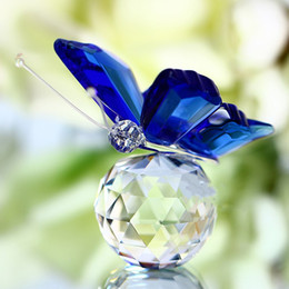 Wholesale Happy New Year Glasses - Crystal glass marble butterfly statue feng shui desk Gift jewelry Christmas glass furnishings home decoration crafts