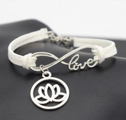 Wholesale Lotus Flower Bracelets - 10pcs Vintage Silver Love Infinity Round Lotus Flower Charm Bracelet Bangle For Women Mixed Color Velvet Rope Bracelet Jewelry Accessories