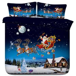 Rainha do conjunto da cama dos cervos on-line-Natal 3D Papai Noel Capa Duvet Bedding Sets Colchas férias Quilt Covers Lençois Fronhas Elk completo rainha roupas de cama de veado