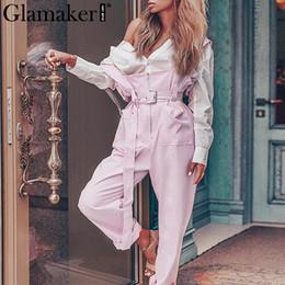 2019 macacão rosa de inverno Glamaker rosa cintura alta calças soltas mulheres outono ampla perna zíper sexy causal calças bottoms senhoras inverno caixilhos macacões desconto macacão rosa de inverno