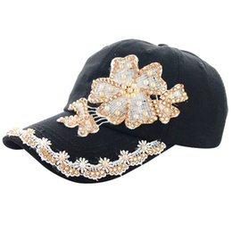 533796ad94a Fashion women hat summer Women Lace Denim Rhinestone Baseball Cap Snapback  Hip Hop Flat Hat Casquette de baseball Floral gorras inexpensive wholesale  denim ...