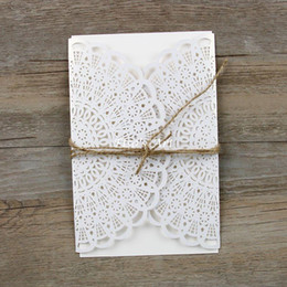 Wholesale Wedding Invitations Blank Inside - Wholesale- Free shipping 30pcs lot Pear Paper Laser Hollow Flowers Wedding Invitations Card with Envelope Linen Seal blank inside card