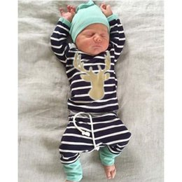 Wholesale Leopard Baby Hats - hot sale kids fashion suits 3pcs Baby Boy Girl christmas sets Newborn Infant Romper+striped pants+Hat Bodysuits Outfits Clothing Sets B11