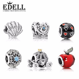 Wholesale Flats Music - EDELL 100% 925 Sterling Silver Shell Charm Diverse bead With Original Bracelet Luxury Authentic Jewelry Gift
