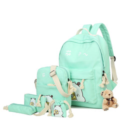 Wholesale cute backpacks for high school - 6 Sets Girls Backpack Women Students Schoolbag Cute Fruit Printing Canvas School Backpacks for Teenagers High Quality Satchel