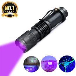 Wholesale Uv Violet - UV Flashlight Mini CREE LED Torch 395nm Blacklight Wavelength Violet Light UV LED Flash Light Torcia Linterna Aluminum Lamp