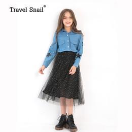 Costumes de criança on-line-Caracol de viagem meninas conjuntos de roupas para crianças define costumes crianças meninas blusas + saias altura: 120 cm-160 cm 2018 Primavera Nova