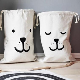 Wholesale Canvas Garage - INS 2018Hot Large Baby Toys Storage Bags Canvas Bear Laundry Hanging Drawstring Bag Household Pouch Bag Home Storage Organization