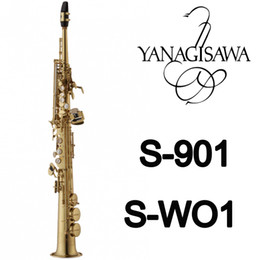 Wholesale Soprano Saxophone Reeds - New YANAGISAWA Soprano Saxophone S-901 S-WO1 Gold Lacquer Brass Sax Professional Mouthpiece Patches Pads Reeds Bend Neck