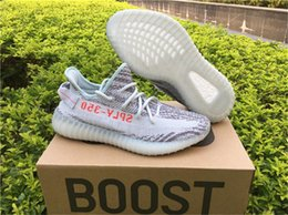 Wholesale Cheap Men Sneakers Online - Kanye West Boost 350 V2 Zebra Blue Tint B37571 Boosts Mens Womens Running Shoes Fashion Outdoor Sneakers Cheap Wholesale Online