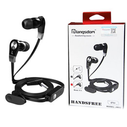 Wholesale Remote Control Lg - Langsdom JM02 Tangle-Free Earphone Super Bass Sound 3.5mm In Ear Earphone with Mic Remote Control For iPhone Samsung HTC with Retail Package