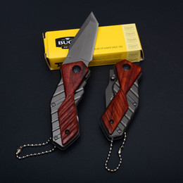 Wholesale Pocket Knives Buck - Steel handle Buck X59 Little Knife EDC Folding Pocket Keychain Knife 5CR13MOV 56HRC Tanto Point Small Hunting Knives D749Q