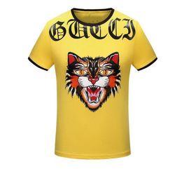 Wholesale high tops leopard print - New High 2018 Men Embroidery leopard Morden T Shirts kanye T-Shirt Hip Hop Skateboard Street Cotton T-Shirts Tee Top Top