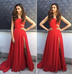 Wholesale Out Side Lights - 2018 Red One Shoulder Chiffon Split A Line Prom Dresses Cut Out Waist Floor Length Formal Party Prom Evening Dress