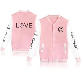 Liebe rosa jacken online-Moletom Lil Peep LOVE Baseball Einheitliche Jacke Mantel Männer Harajuku Sweatshirts Winter Mode Hip Hop Fleece Rosa Hoodie Outwear
