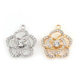 Wholesale crystal flower necklace handmade - 24*21mm Silver Plated Zinc Alloy Crystal Flower Charms Pendants Diy Handmade Necklace Bracelet Jewelry Findings Accessories