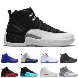 Wholesale Game Master - (with box) Air retro 12 men basketball shoes ovo white University blue flu game GS Barons taxi the master wolf grey playoffs sneakers