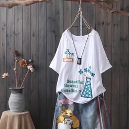vintages lochhemd Rabatt Vase Blume Stickerei T Shirt Frauen Lose Sommer Top Femme Kurzarm Casual Buchstaben Bambus Baumwolle Vintage Zerrissene Loch T-shirt