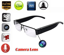 Wholesale hd spy camera glass - HD 1080P Mini Spy Hidden glasses Camera DV Eyewear Nanny Camera glasses cam Camcorder DVR