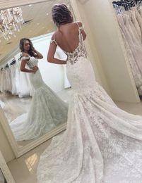 Wholesale Bride Dresses Open Back Mermaid - New Arrival Full Lace Wedding Dress Modest Mermaid Open Back Spaghetti Straps Garden Bride Bridal Gown Custom Made Plus Size