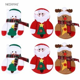 tableware for christmas NZ - Christmas Decorations For Home New Year Tableware Holder Cutlery Pocket Christmas Bags Gifts Knife Fork Table Decoration