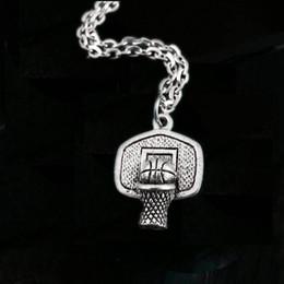 Wholesale Hoop Pendant Necklace - 12pcs lot Basketball Hoop Charm Basketball Pendant Necklace Sports Jewelry