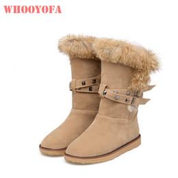 Brand New Hot Winter Warm Kaninchen Pelz Frauen Plattform Schnee Stiefel Grau Gelb Süße Schule Schuhe Low Heels WB81 Plus Große Größe 10 43 von Fabrikanten