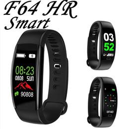 reloj para fitbit flex Rebajas F64 HR Pulsera inteligente banda Fitness Tracker Actividad Monitor de frecuencia cardíaca Health Wristband Bluetooth podómetro Calor contador para Android iOS
