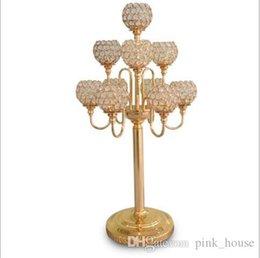 Elegante nuovo 10 braccia candelabri centrotavola matrimonio / candelabri oro con sfera di cristallo candelabri per centrotavola decorazione della tavola di nozze da