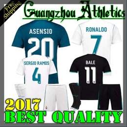 Wholesale Real Children - 17 18 Real Madrid kids adult home away soccer jersey kits youth boys child jerseys kits 2017 2018 RONALDO BALE ISCO MODRIC football shirts