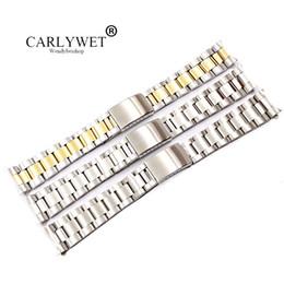 CARLYWET 19 20 мм 316L из нержавеющей стали два тона золото серебро смотреть группа ремешок Старый Стиль устрица браслет полые изогнутый конец supplier two tone watch band от Поставщики две тональные часы