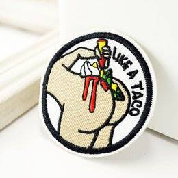 Wholesale Wholesale Clothing American Apparel - LIKE A TACO Iron On Patch American POP Art Sewing Embroidery Applique Patches Clothes Stickers Garment Jeans Hat DIY Apparel Accessories