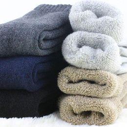 Chaussettes chaudes blanches épaisses en Ligne-Big Size Super chaud épais en laine chaussettes hommes hiver chaud chaud chaussettes mâle marque occasionnelle noir / gris / blanc robe pour homme
