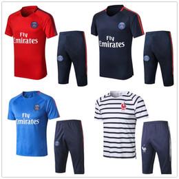 Wholesale red black pant suit - New Paris summer soccer Short sleeve 3 4 pants tracksuit 2018-19 NEYMARJR CAVANI MBAPPE Fotball jogging Training suit