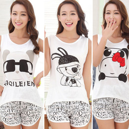 2018 Summer Women Cute Cartoon Pyjamas Set Sleeveless Cotton Girl Pajamas  Home Suit Sleepwear Female Pajamas Set T-Shirt+Short 3c7e9bdca