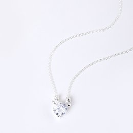 Wholesale Antler Charms - Charms 925 sterling silver pendant necklace Zircon antler small elk sweet chain Fashion sets jewelry valentines day gift women China Direct