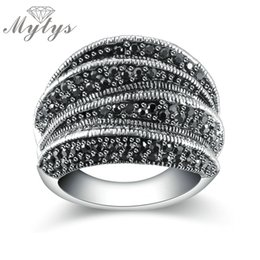 Wholesale Rings Marcasite - Mytys Brand Black Rings for Women Pave Setting Black Marcasite Blink Ring 2017 Fashion Design R1808