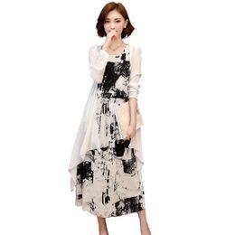 7a9f58621ad5d Plus la taille 5XL Vintage Coton Linge D été Dress Femmes Sans Manches Maxi  Longue Réservoir Robe Avec Cardigan Robe Femme Plage C4112