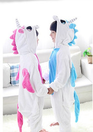 Wholesale 4t Nightgown - Flannel animal cosplay costume unicorn sleepwear children blanket sleepers kids garment cartoon animal onesies pajamas 11 colors