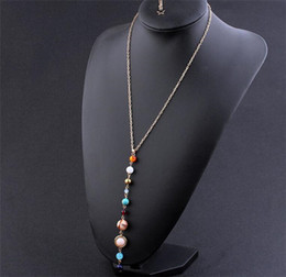Wholesale Solar System Wholesalers - 2018 New Fashion Universe Galaxy the Eight Planets in the Solar System Guardian Star Natural Stone Beads Necklaces for Women Good Gift B181