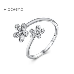 Wholesale Open Clover - whole sale925 Sterling Silver Rings For Women Jewelry 2 Clover with Crystal Women Fashion Wedding Ring R113 Open Ring