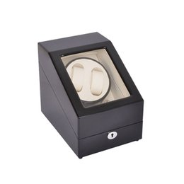 Wholesale watch case automatic winder - Watch Winder ,LT Wooden Automatic Rotation 2+3 Watch Winder Storage Case Display Box (Black-white)